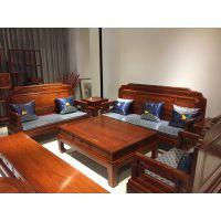 华夏一品红木缅甸花梨荷润客厅沙发六件套