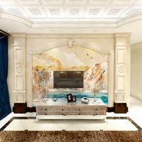 佛山 人造玉石电视背景墙 欧式客厅仿大理石纹电视背景墙通体岗石