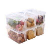 洪客冰箱食物收纳盒塑料透明保鲜盒带手柄密封杂粮鸡蛋水果储物盒