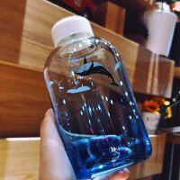 蓝色玻璃杯创意布袋玻璃瓶韩版大容量随手杯送朋友同学礼物