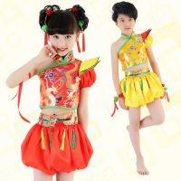 男女童民族舞演出服装儿童中国风舞台表演服夏装肚兜秧歌舞蹈服
