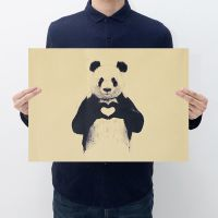 北欧风格 熊猫A款  怀旧复古海报牛皮纸 酒吧咖啡馆装饰画