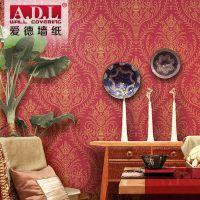 爱德墙纸 欧式茶楼会所饭店客厅卧室电视墙装修无纺布壁纸大红色