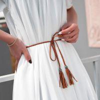装饰腰带编织女士打结细裙子腰绳结绳腰链百搭皮带子甜美韩版