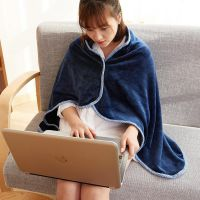 薄款斗篷式教室用小毯子午睡毯单人空调被披风法兰绒沙发懒人午休
