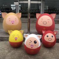 定制玻璃钢猪卡通雕塑彩绘树脂聚财猪公司新年摆件现货立体公仔