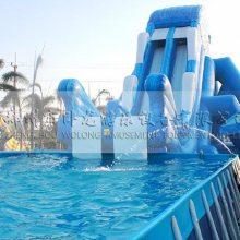 移动水上乐园酷炫的充气水滑梯 飞人滑梯的价格 郑州卧龙厂家批发