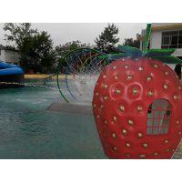 陕西水上乐园设备玻璃钢戏水小品草莓屋