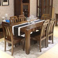 实木餐桌  榆木餐桌现代中式长方形餐桌椅组合四六椅组合饭桌