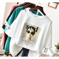 广州十三行便宜T恤批发女装短袖纯棉t恤印花短袖宽松大码女装清货