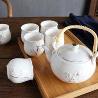 手工描金 景德镇提梁陶瓷茶具套装家用现代简约茶壶茶杯 送托盘