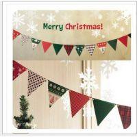 圣诞派对装饰 圣诞三角彩旗 聚会家居装饰挂件 圣诞节纸质彩旗