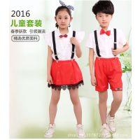新款六一儿童合唱服背带裤演出服小学生校服幼儿诗歌朗诵表演服