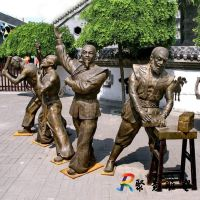 玻璃钢仿铜古代人物马戏团表演杂技街头卖艺雕塑广场民俗小品摆件