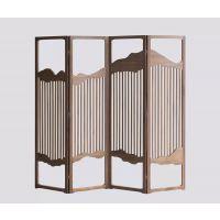 新中式禅意茶楼会所移动折叠屏风 定制简约现代折叠木质屏风