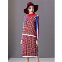 楚贝尔秋装女2018针织套装休闲时尚两件套秋季气质半身裙长袖毛衣裙
