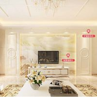 大理石电视背景墙瓷砖欧式现代简约客厅装饰微晶石材护墙板罗马柱