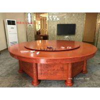 红木雕花电动餐桌 酒店餐桌椅 手动大圆桌樵森家具生产