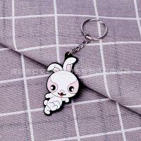 现货批发兔子钥匙扣挂件迷你创意可爱小白兔pvc软胶挂饰支持定制