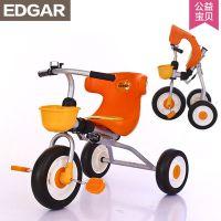 爱德格儿童三轮车折叠手推车宝宝脚踏车婴儿自行车1-3充气轮童车