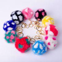 2015韩版花朵水貂毛球包包挂件汽车钥匙扣包包饰品批发