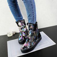 名将 冬季韩版平底加绒加厚涂鸦拉链女靴子短筒棉靴雪地靴女6919