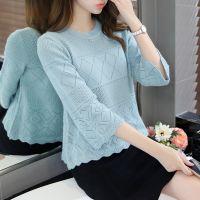 2018春装新款女装韩版圆领七分袖宽松套头打底衫镂空针织衫罩衫