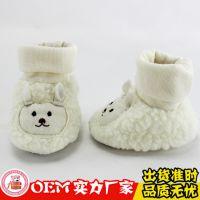 厂家定做婴儿棉靴 宝宝保暖鞋子 儿童棉靴 白色毛绒高筒鞋