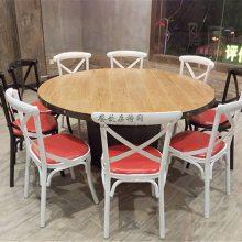 惠州湘菜馆家具批发,工业风圆桌椅子组合