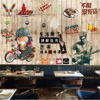 复古壁纸怀旧手绘木纹墙布无缝无纺布烧烤餐厅工装背景墙墙纸批发
