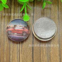 汽车出行旅游纪念品冰箱贴 圆形水晶玻璃 DIY照片磁性贴个性定制