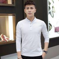 包邮长袖t恤男立领2018男装秋季韩版青年纯色修身打底衫男式t恤