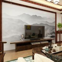 墙布定制无缝大型新中式水墨山水上善若水风景客厅电视背景墙壁画