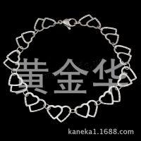花纹桃心手工珍珠链 不锈钢手链 脚链 钛钢 OL百搭链