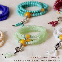 时尚水晶佛珠手串情侣项链多层手链流行饰品 玛瑙松石圆珠手链