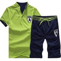 男士运动套装夏季新款V领t恤休闲跑步健身服男夏天短袖学生套装潮