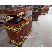 新疆民族特色垃圾箱 实木造型垃圾桶 大号果皮箱制作 木质果皮箱批发