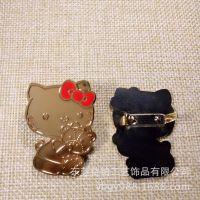 专业订制Hello Kitty动漫皮质金属镶标 合金铭牌标牌亮镍烤漆工艺