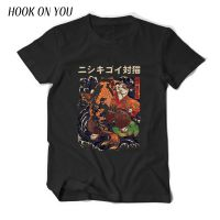 夏季新款潮牌男士港风日系印花短袖t男复古猫纯棉圆领T恤