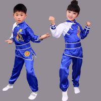 新款儿童演出服长袖练功训练服男女武术服太极服幼儿表演功夫服