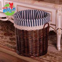 复古风竹编脏衣桶圆形收纳筐盒竹篓洗浴竹制家野餐脏衣桶卧室毛巾