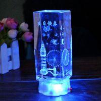 经典摩天轮钟楼内雕三维大号带灯水晶摆件 同学朋友生日节日礼物