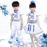 儿童舞蹈服男女童青花瓷演出服幼儿表演服中国风古装合唱舞台礼服