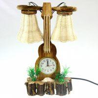 日式杂货木质小提琴双泡带钟工艺台灯 孩子礼物家居摆件卧室装饰