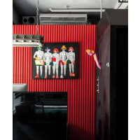 四川雕刻定制现代黑风格美发店背景墙形象墙装饰板波浪板