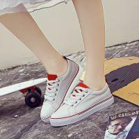 学生夏季帆布鞋女系带厚底板鞋韩版运动鞋休闲鞋低帮球鞋一件代发