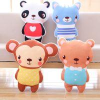 厂家直销新款可爱动物猴子狮子熊猫公仔双面印刷毛绒玩具抱枕批发