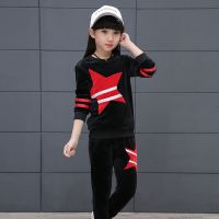 新款一件代发采源宝女童套装 运动金丝绒两件套童春季韩版长袖卫