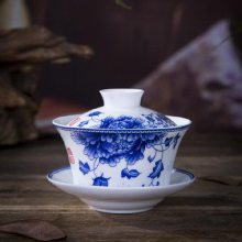 三才碗杯敬茶碗泡茶壶茶杯 创意中式家用陶瓷复古盖碗茶碗