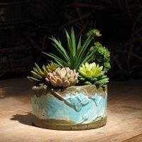 岀口厂家手工红陶器 绿松石釉陶美式拼盆花盆岀厂价批发